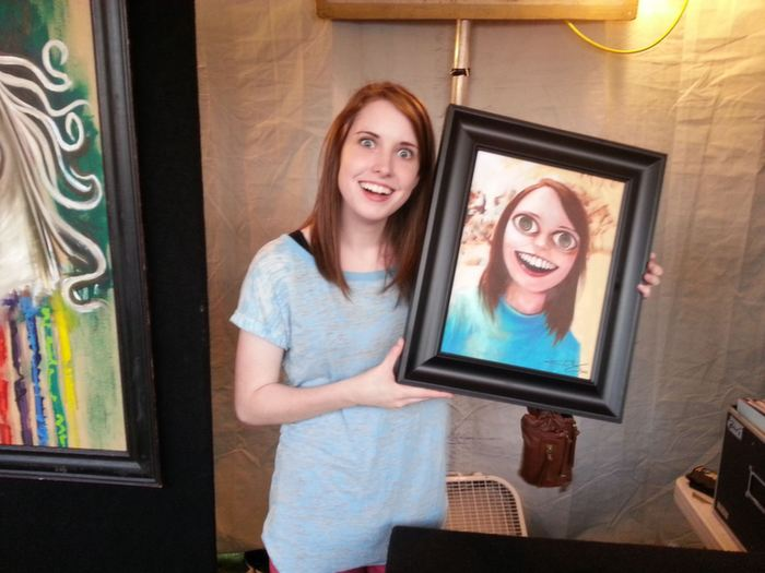 overly attached girlfriend with portrait